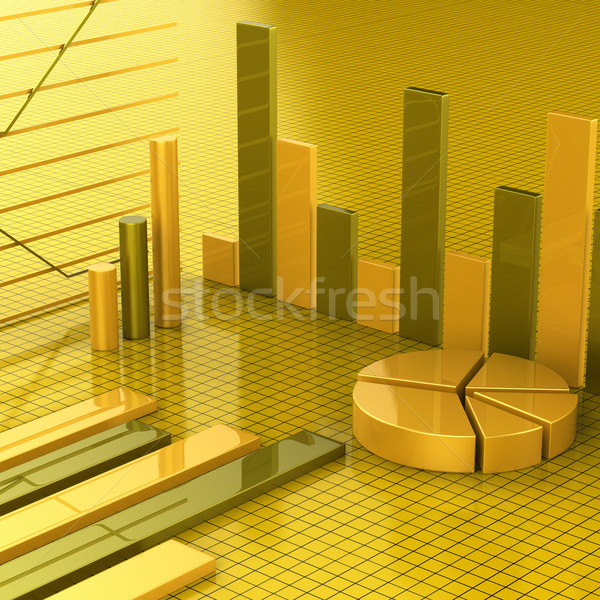 Business Report Shows Financial Infochart And Graphs Stock photo © stuartmiles