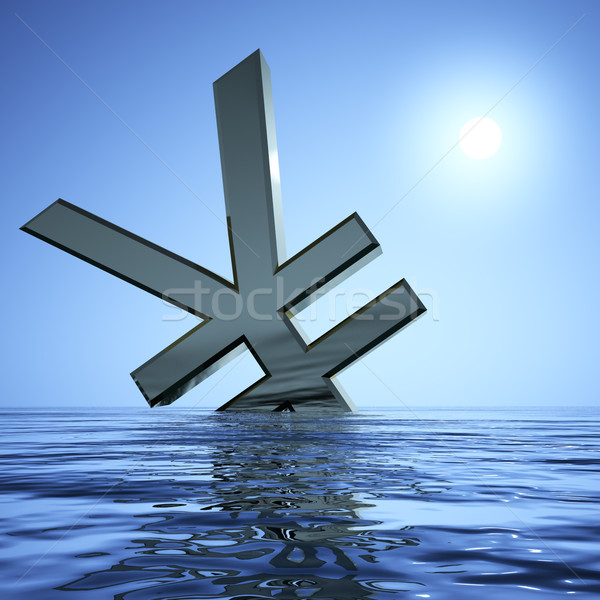 Yen Sinking In The Sea  Showing Depression Recession And Economi Stock photo © stuartmiles