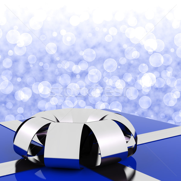 Blue Giftbox With Bokeh Background For Husbands Birthday Stock photo © stuartmiles