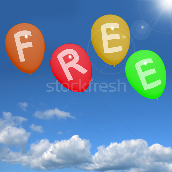 Balloons In Sky Spelling Free Showing Freebies and Promotions Stock photo © stuartmiles