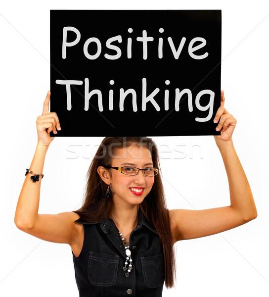 Pozitif düşünme imzalamak iyimserlik inanç Stok fotoğraf © stuartmiles