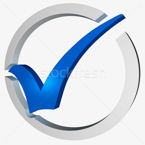 Blue Tick Circled Shows Checked and Verified Stock photo © stuartmiles