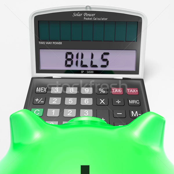 Bills Calculator Shows Invoices Payable And Accounting Stock photo © stuartmiles
