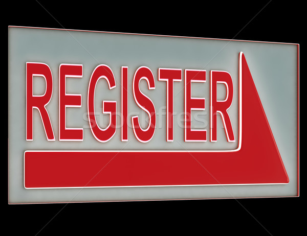 Stock photo: Register Sign Button Showing Members Subscriptions
