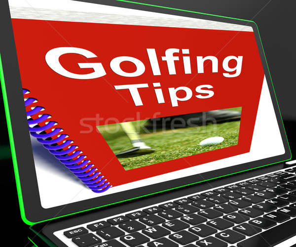 Golfing Tips On Laptop Shows Golfing Advices Stock photo © stuartmiles