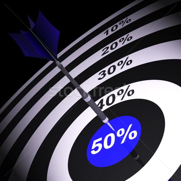 50Percent On Dartboard Showing Money Savings Stock photo © stuartmiles
