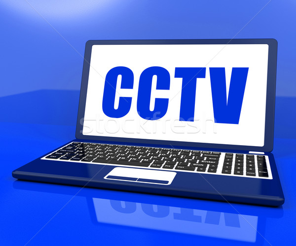 CCTV Laptop Shows Security Protection Or Monitoring Online Stock photo © stuartmiles