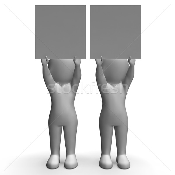 Characters With Two Blank Boards Allow Message Or Text Stock photo © stuartmiles