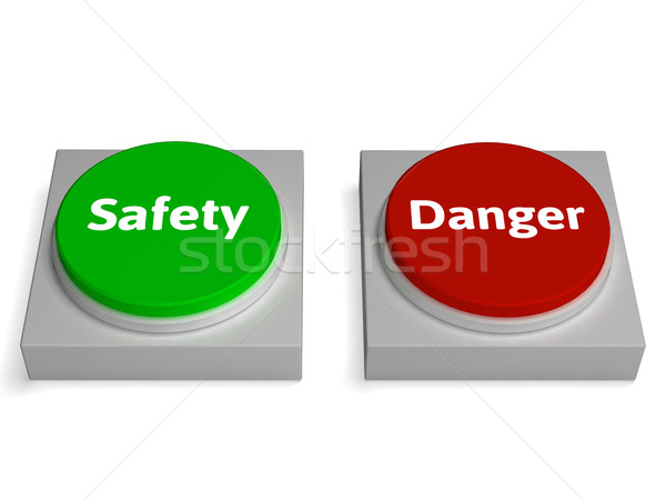 Danger Safety Buttons Show Safe Or Harmful Stock photo © stuartmiles