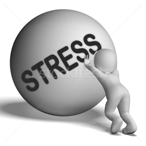 Stress Uphill Character Shows Tension And Pressure Stock photo © stuartmiles