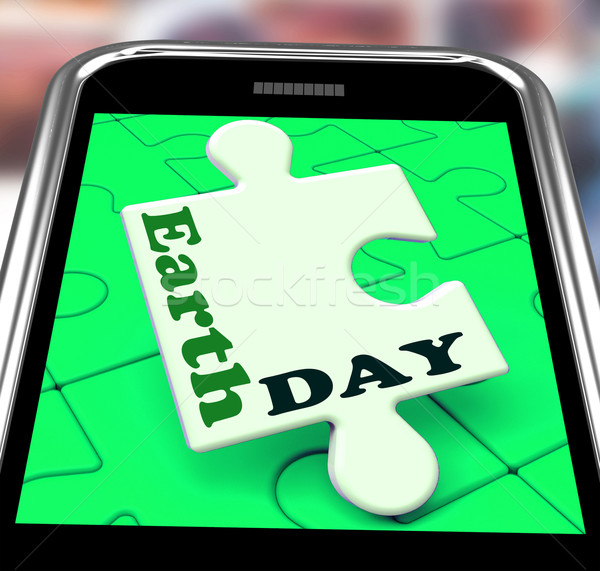 Earth Day Smartphone Means Eco Friendly And Green Stock photo © stuartmiles