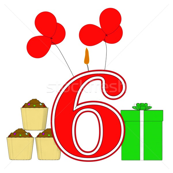 Number Six Candle Means Festive Occasion Or Decorated Celebratio Stock photo © stuartmiles