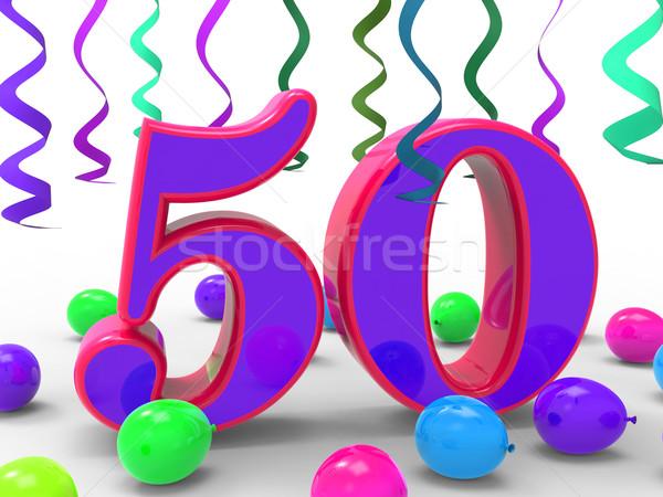 Zahl fünfzig Party farbenreich Geburtstagsparty dekoriert Stock foto © stuartmiles