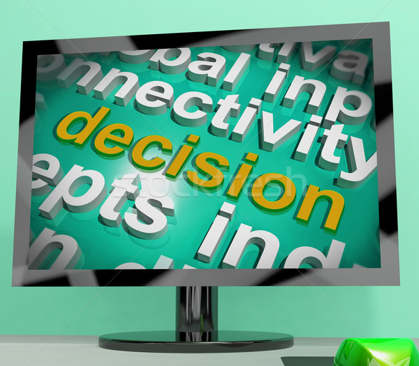 Decision Word Cloud Screen Shows Choice Or Decide Stock photo © stuartmiles