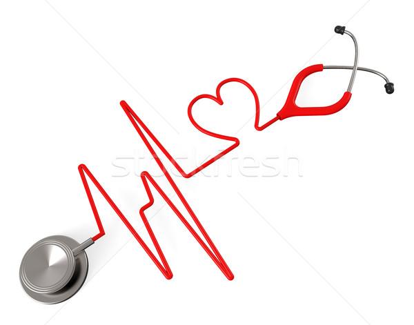 Szív sztetoszkóp egészség csekk vonzalom mutat Stock fotó © stuartmiles