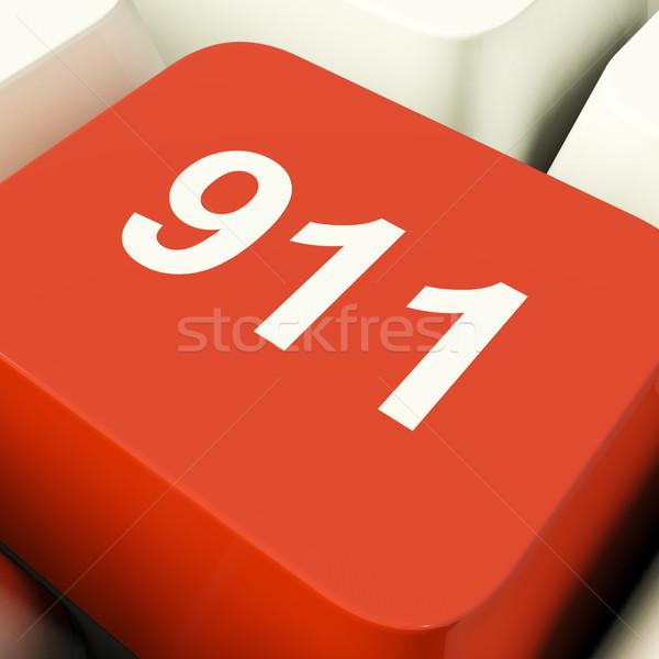 Urgence ordinateur clé feu police Photo stock © stuartmiles