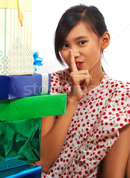 Girl Looking At Lots Of Birthday Presents Stock photo © stuartmiles