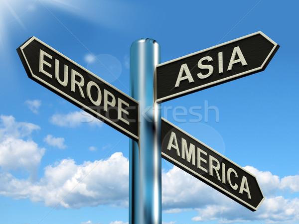 Stok fotoğraf: Avrupa · Asya · Amerika · tabelasını · kıtalar