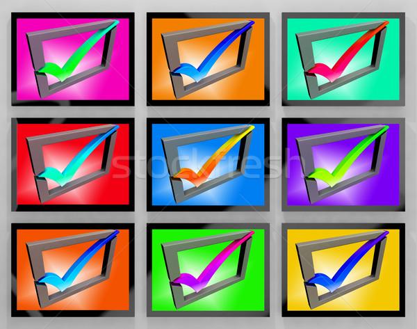 Csekk mutat elismert elégedett ügyfél képernyő Stock fotó © stuartmiles