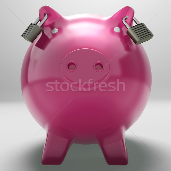 Piggybank With Locked Ears Showing Monetary Protection Stock photo © stuartmiles