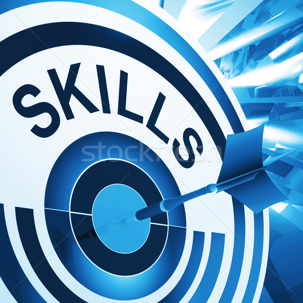 Skills Target Means Aptitude, Competence And Abilities Stock photo © stuartmiles
