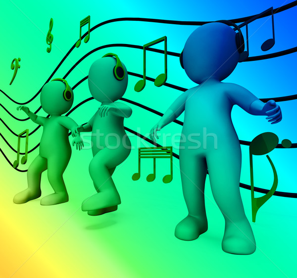 Characters With Colorful Lights Dancing Shows Music Disco And Pa Stock photo © stuartmiles