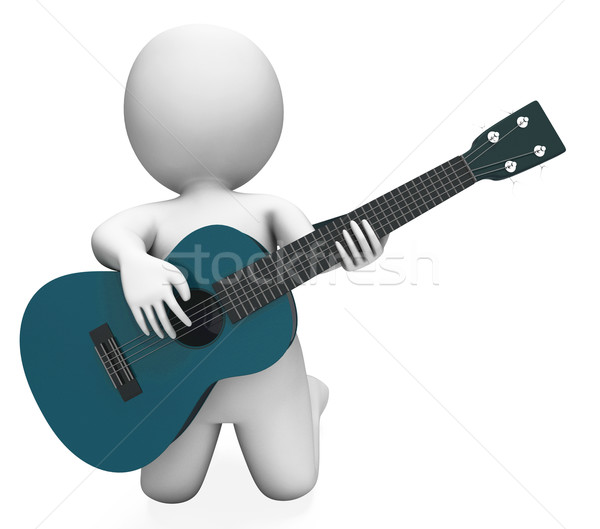 Guitarist Performer Shows Acoustic Guitars Music And Performance Stock photo © stuartmiles