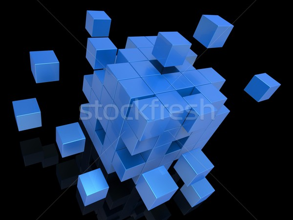 Exploding Blocks Showing Unorganized Puzzle Stock photo © stuartmiles