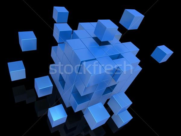 Kockák mutat puzzle robbanás Stock fotó © stuartmiles