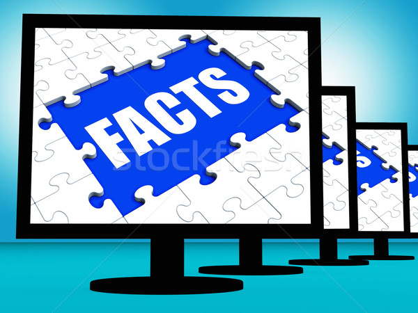 Facts Monitors Shows Data Information Wisdom And Knowledge Stock photo © stuartmiles
