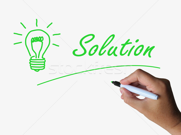Solution Lightbulb Shows Solutions Resolutions and Results Stock photo © stuartmiles