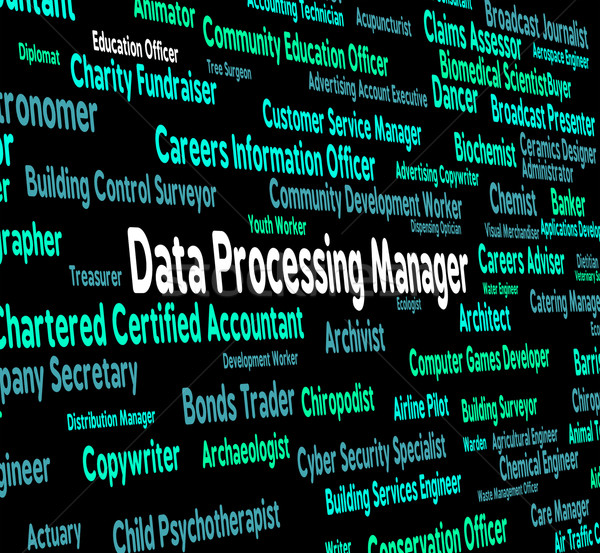 Data Processing Manager Represents Hiring Bytes And Word Stock photo © stuartmiles