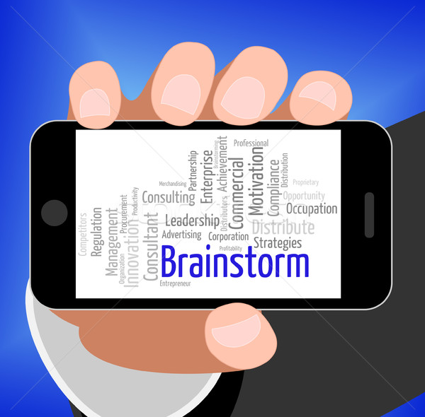 Brainstorm Word Shows Put Heads Together And Brainstorms Stock photo © stuartmiles