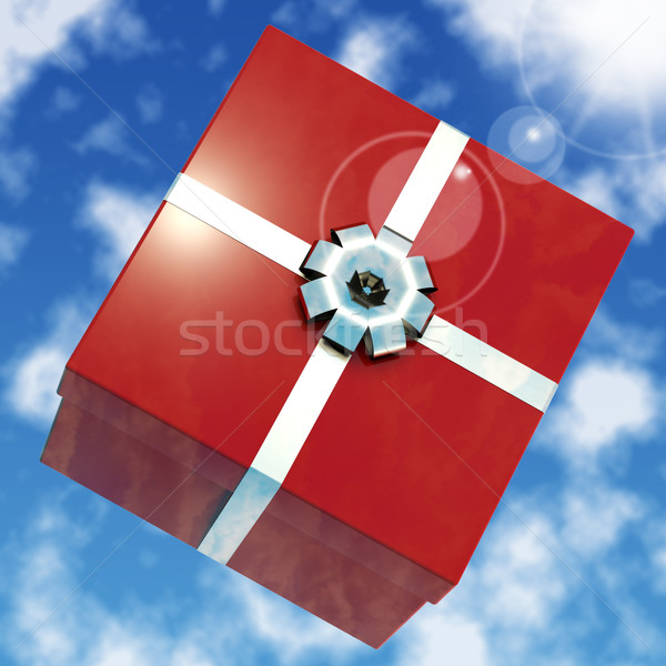 Red Giftbox With Sky Background For Girls Birthday Stock photo © stuartmiles