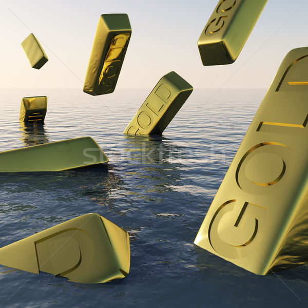 Gold Bars Sinking  Showing Depression Recession And Economic Dow Stock photo © stuartmiles