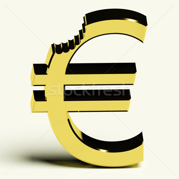 Euro With Bite Showing Devaluation Crisis And Recession Stock photo © stuartmiles