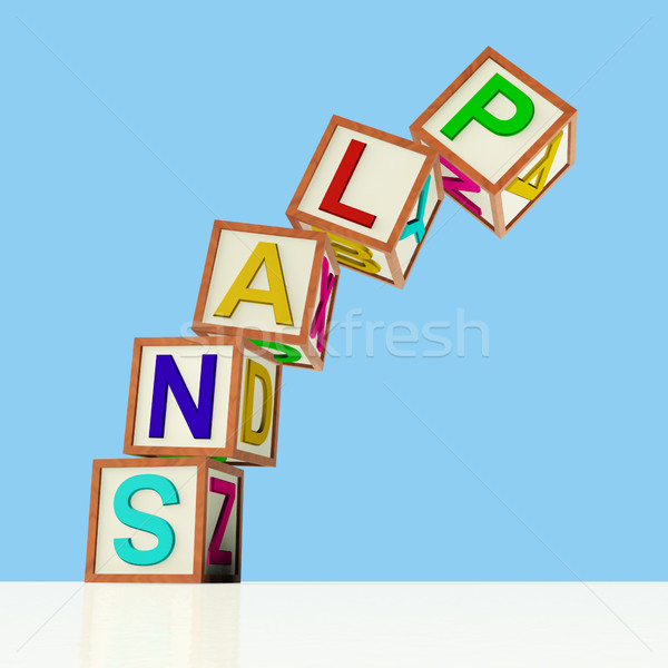 Blocks Spelling Plans Falling Over As Symbol for Failing Goals Stock photo © stuartmiles