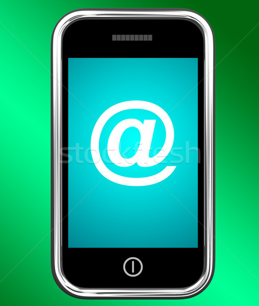 Mobile With At Sign For Emailing Or Contacting Stock photo © stuartmiles