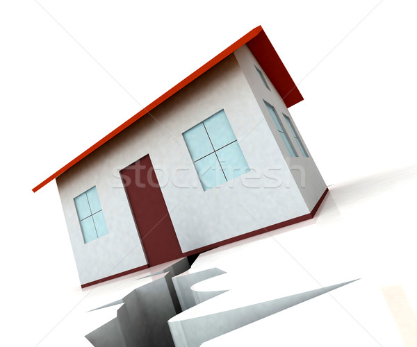 House On Crack Shows Housing Market Decline Stock photo © stuartmiles