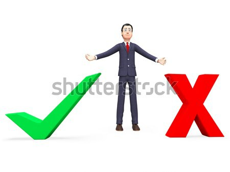 Tick And Cross Symbols In Front Show Choice Or Decision Stock photo © stuartmiles