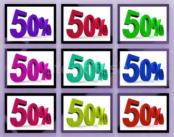 Stock photo: 50 On Monitors Showing Big Clearances And Promotions