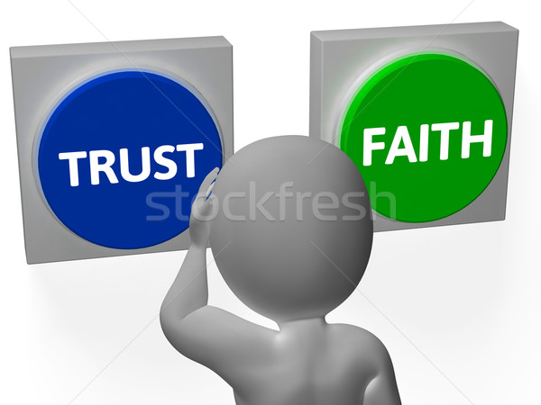Trust Faith Buttons Show Trustful Or Faithfulness Stock photo © stuartmiles