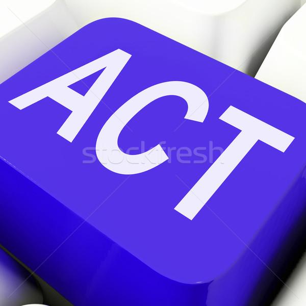 Acto clave proactivo ordenador botón línea Foto stock © stuartmiles