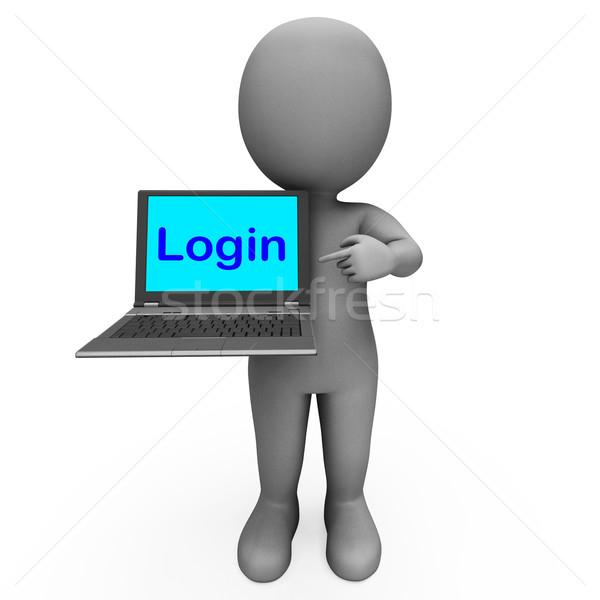 S'identifier personnage ordinateur site signe sécurité Photo stock © stuartmiles