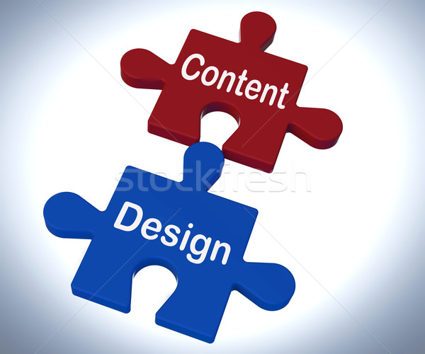 Content Design Puzzle Shows Promotional Material And Layout Stock photo © stuartmiles