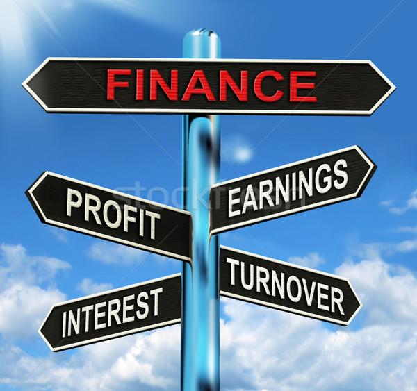 Financieren wegwijzer winst inkomsten tonen Stockfoto © stuartmiles