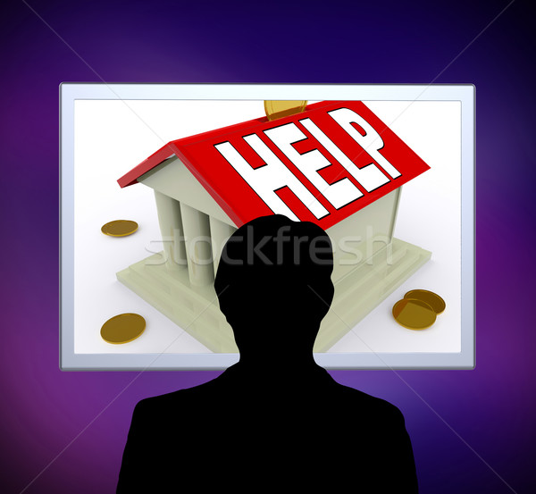 Help on House Or Money Box Man Means Loan Assistance Stock photo © stuartmiles