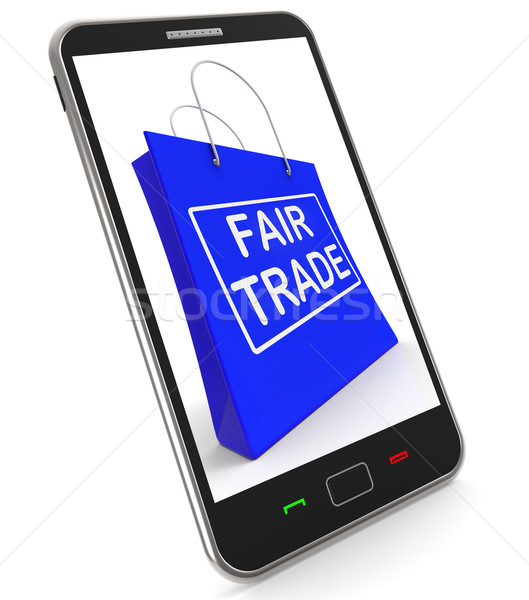 Fairtrade Shopping Bag Shows Fair Trade Product Or Products Stock photo © stuartmiles