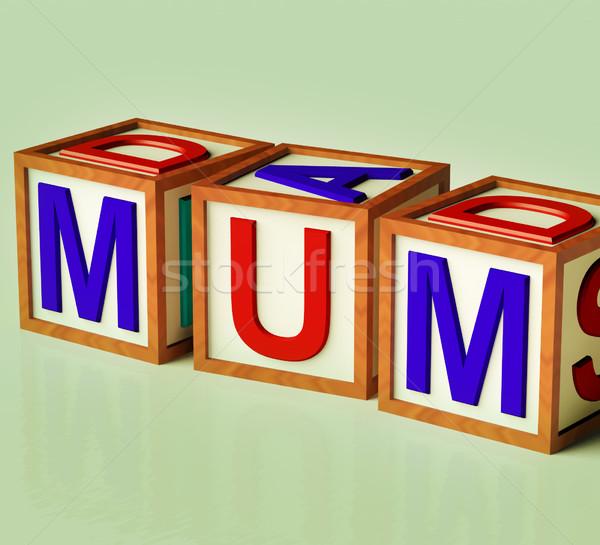 Ninos bloques ortografía mamá símbolo maternidad Foto stock © stuartmiles