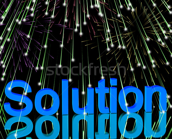Solution Word With Fireworks Shows Success Acheivement And Strat Stock photo © stuartmiles